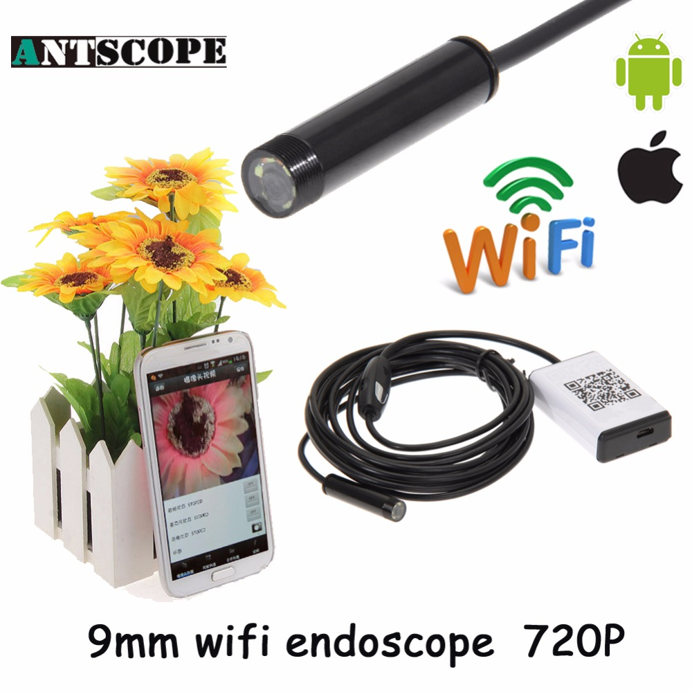Iphone Endoscope HD 9mm WiFi Endoscope Camera Waterproof Video Inspection Android Endoscopio Camera for IOS and Android Phone en66 6led 5 5mm endoscope ip67 waterproof inspection camera usb for windows8 7 xp vista 2000 wifi box for ios android