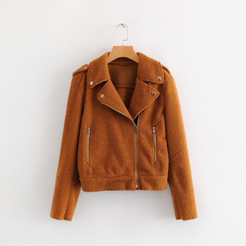 Women Khaki Hairy Fashion Retro Coats Winter Cardigans Long sleeve Turn Down Collar zipper Coat Women