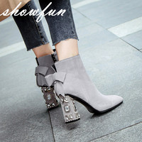 Women S Genuine Suede Leather Rhinestones Heel Autumn Ankle Boots Brand Designer Square Toe Sweet Boties