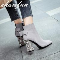 Cuero Genuino Del Ante de las mujeres Pedrería Otoño Talón Tobillo Botas de Diseñador de la Marca Del Dedo Del Pie Cuadrado Dulce Boties Botines Cortos Zapatos Calientes