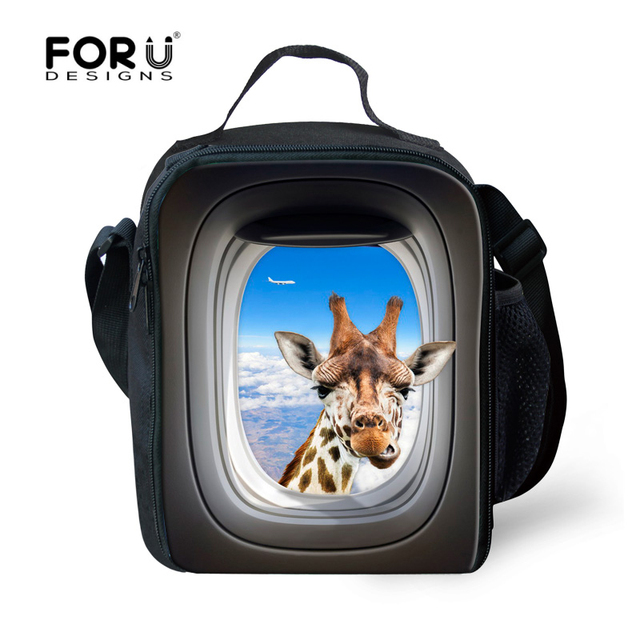Hot Sale Insualted Lunch Picnic Bag For Kids Funny Giraffe Printing Large Students Children Lunchboxs Men Food Thermal Lancheira