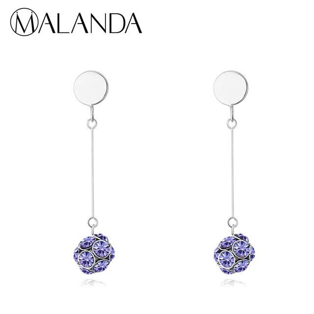Malanda Brand Fashion Dazzle Crystal Ball Drop Earrings For Women From Swarovski Long Piercing Dangle