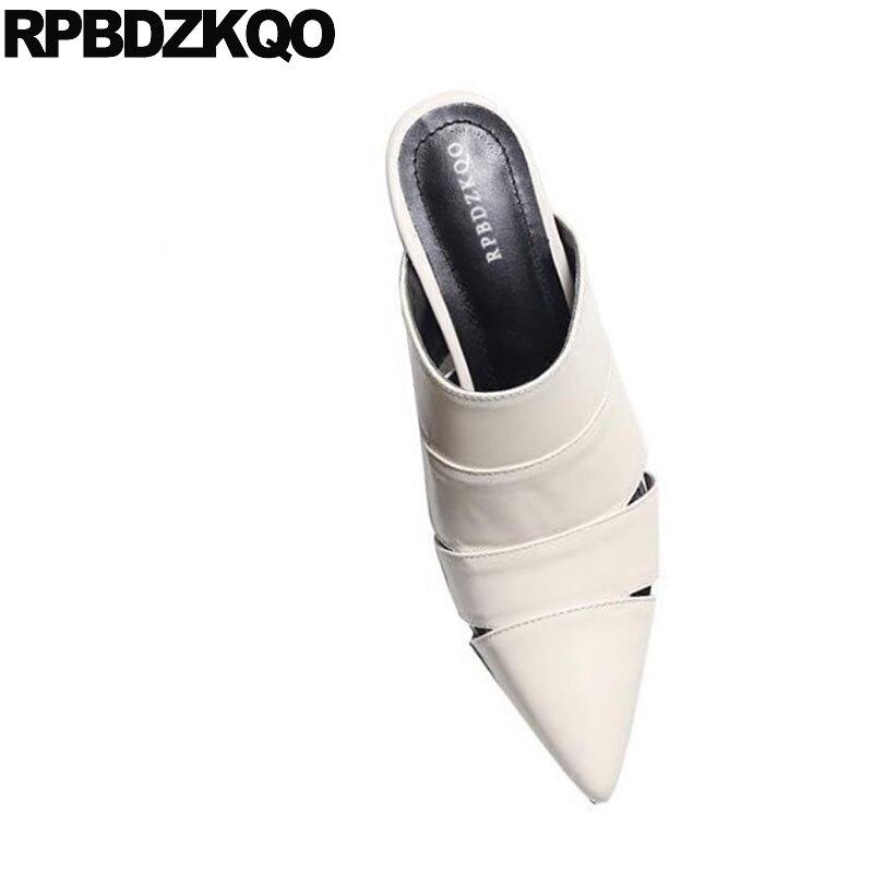 Beige noir Épais Mules Pantoufle D'été Femmes Chaussures Talons Bout Gladiateur Véritable Pointu Pompes Moyen 2018 Apricot De Sandales Cuir Mode qR1wnEH5
