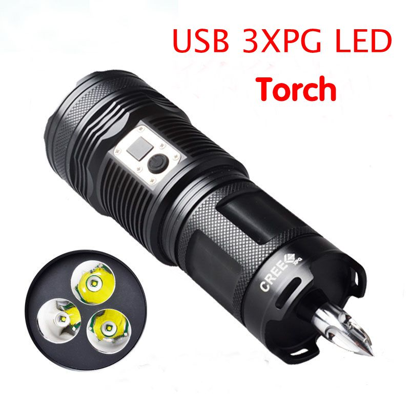 2017 new highbrightness 3 cree xpg led lamp torch usb lights outdoor lighting for hunting fishing camping powerd by18650 battery lumiparty 4000lm headlight cree t6 led head lamp headlamp linterna torch led flashlights biking fishing torch for 18650 battery