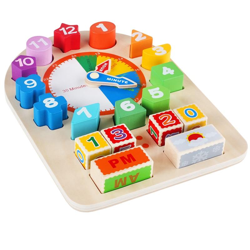 Enfants Montessori matériaux éducatifs WoodenToys pour enfants multifonction temps et si feuille horloge calendrier oyuncak