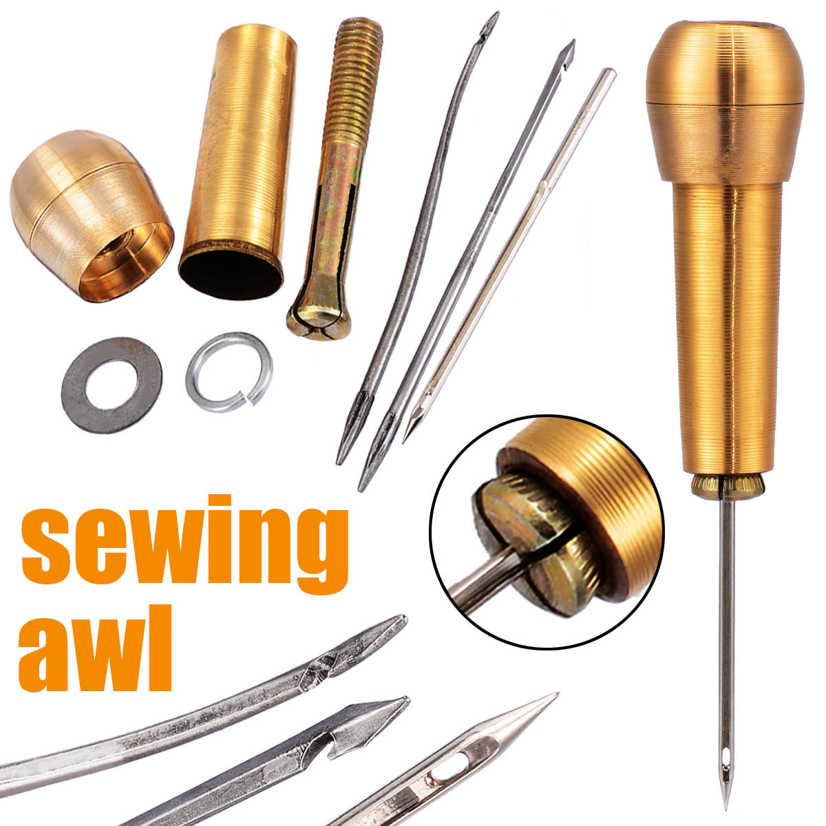3 Needle Copper Handle Sewing Awl Leather Hand Stitcher Shoe Repair Tool Set