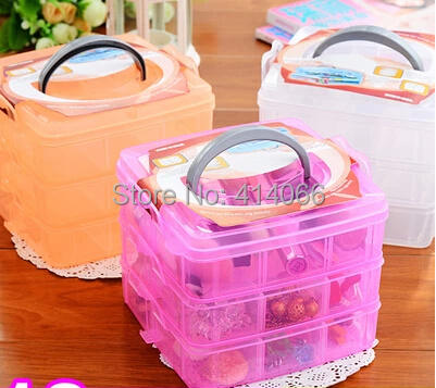Hot Sale Multi Utility jewel Storage Case Box plastic 3 Layer Nail Art Craft Fishing Makeup Tool casket Hard Rack Free Shipping