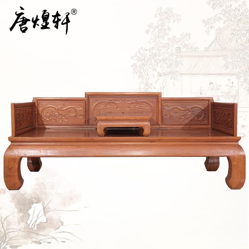 Tang Huangxuan Burma Rosewood Dragon Arhat Bed Solid Wood Bed Chinese Classic Mahogany Furniture Padauk