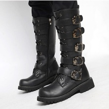 MoBeiNI High tube men's extra large leather boots men's riding boots motorcycle round plastic round toe plastic buckle strap