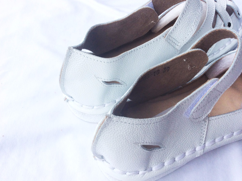 New 2016 summer,Genuine Leather Sandals,pure handmade white shoes ,the retro art mori girl Flats shoes,fashion Doll shoes.