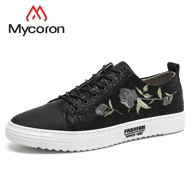 Novos Preto Chaussure Homme Shoes Marca 2018 Homens Casual Respirável up De Lace Mycoron Ocasionais Das Luxo Botas Primavera Sapatilhas w8HpBq