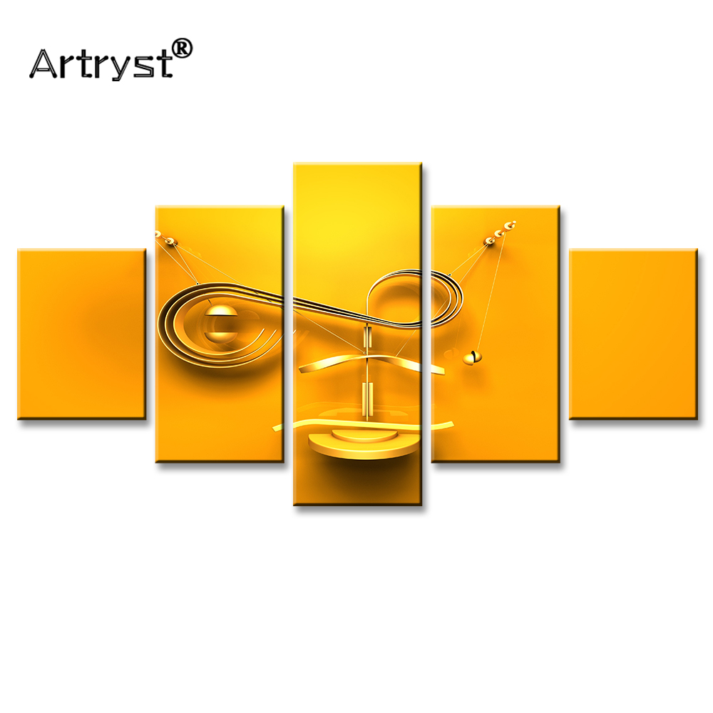 Artryst Abstract Gold Metallic F Letter 4K Poster HD Print 5 Panel ...