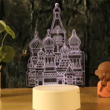 Купить с кэшбэком LED Nightlight Temple Castle Palace 3d Lamp 7 Colors Night Lamps For Kids Touch  Remote Led Usb Desk lamps Baby Sleeping Mylamp