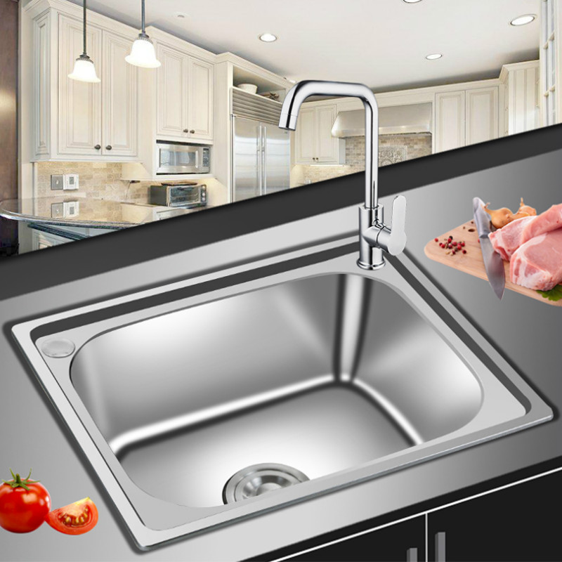 Free shipping fashion balcony kitchen sink ordinary single bowl free shipping fashion balcony kitchen sink ordinary single bowl whole drawing food grade 304 stainless steel hot sell 500x400 mm in kitchen sinks from home workwithnaturefo