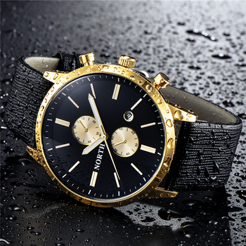 NORTH Mens Watches Top Brand Luxury Quartz Gold Watch Men Casual Leather Military Waterproof
