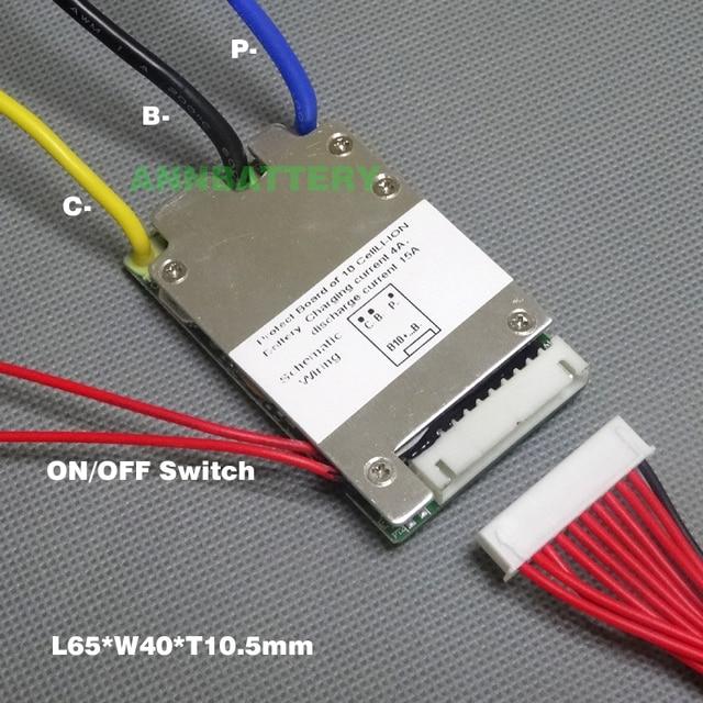 Circuit de protection de batterie lithium ion 36V 10S 36 V/37 V 15A BMS fils dinterrupteur marche/arrêt et petite taille L65 * W40mm livraison gratuite