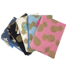 KANDRA Tassel Fabric Cosmetic Bag Pineapple Designer Canvas Makeup Gold Stamping Travel Organiser Zipper Pouch Cute Zip