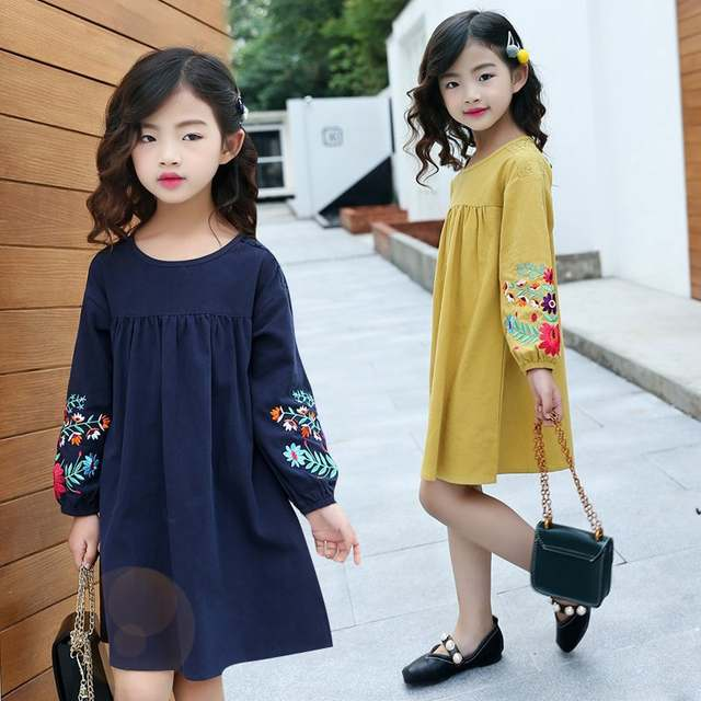 placeholder Girls cute embroidered long sleeves dress 2019 autumn new large  children s cotton lantern sleeve doll dresses a75b39c05