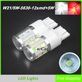 750LM W21/5W LED Brake Lights 12SMD 5630 + 5W High Power Chip T20 Rear Tail Bulb, 12V Auto Car 7443 LED Light Lamp White/Red