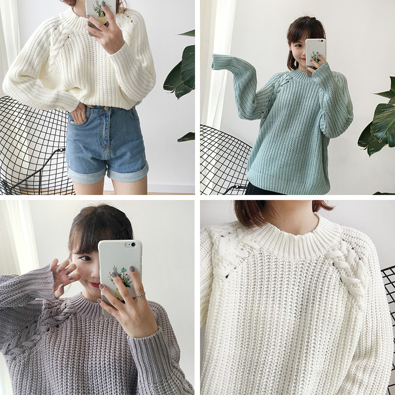 98480f051 Women S Kawaii Solid Color Twisted Raglan Sweater Korean Coarse ...