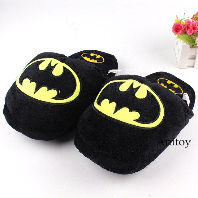 Marvel Superhero Batman Adulto Plush Chinelos de Inverno Sapatos Macios Brinquedos de Pelúcia Chinelos de Pelúcia Brinquedos 28 cm
