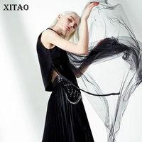XITAO Mesh Bandage Crop Top Women Korea Fashion Patchwork Irregular Turn Down Collar Cardigans Sleeveless Summer 2019 ZQ2221