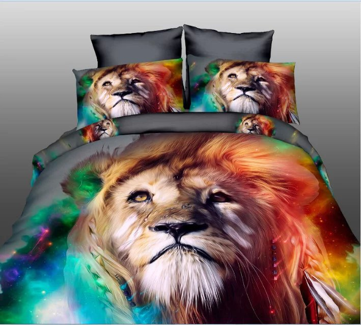 High quality luxury 3d Tiger bear lion wolf bedding set western style Home textiles bed linen quilt cover pillowcase bedspread