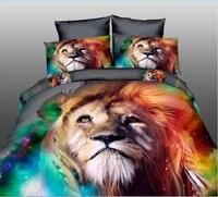 Yüksek kalite lüks 3d Kaplan ayı aslan kurt yatak seti, batı tarzı Ev tekstili çarşaf nevresim yastık kılıfı örtüdeki