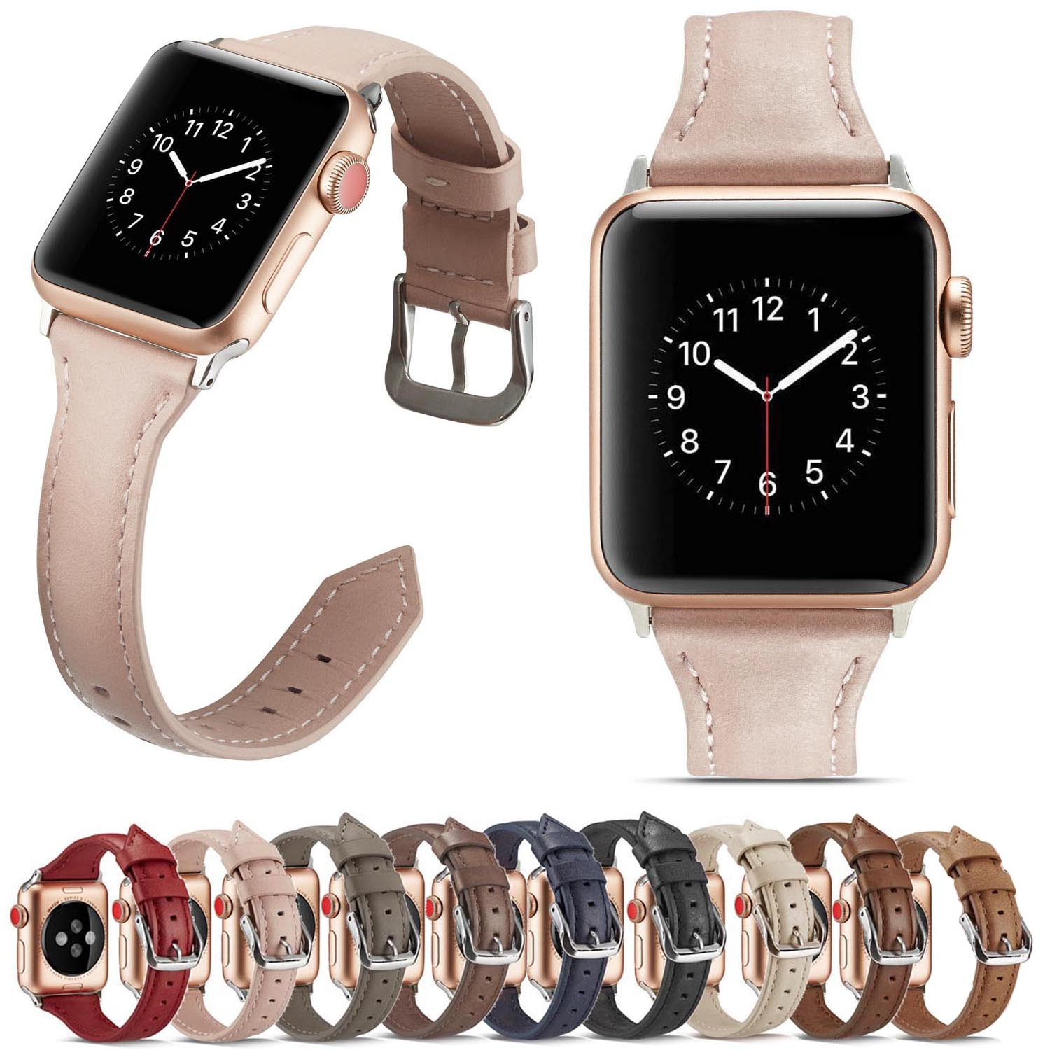 New Soft Genuine Leather iWatch Strap Replacement Band Metal Clasp Bracelet for Apple Watch Series 5/4/3/2/1 38mm 40mm 42mm 44mm