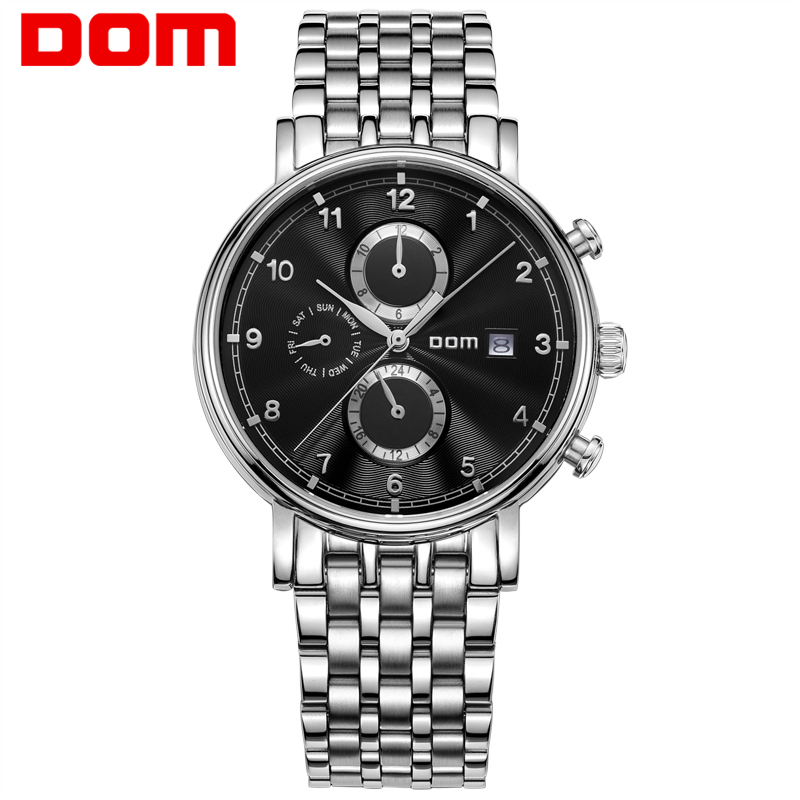 Men Watches DOM mechanical stainless steel Brand top luxury waterproof watch Business reloj hombrereloj M-811D1M dom men watch top brand luxury waterproof mechanical watches stainless steel sapphire crystal automatic date reloj hombre m 8040