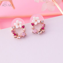 AOMU S925 Sterling Silver Pin Colorful Bunga Karangan Bunga Garland Kristal Kupu-kupu Shell Lingkaran Stud Earrings Untuk Wanita Gadis Hadiah(China)