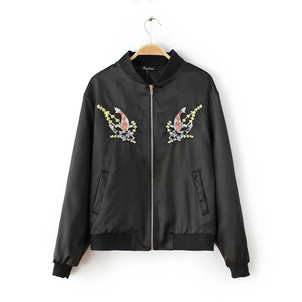 Bomber Jacket Reversible Jacket Women Fish Embroidered