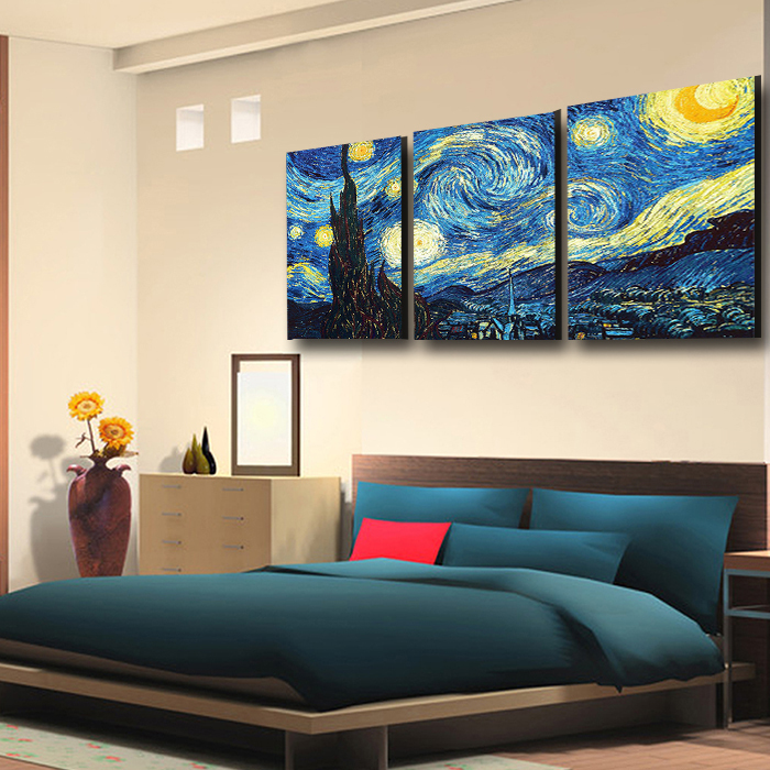 3PCS Wall Painting Vincent Van Gogh The Starry Night Classic Oil Painting  On Canvas Wall Art Picture Living Room Unframed In Painting U0026 Calligraphy  From ...