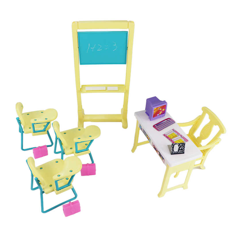 For Barbie School Miniature Classroom Play Set with Student Chair Blackboard Teachers' desks Accessories for Monster Dolls