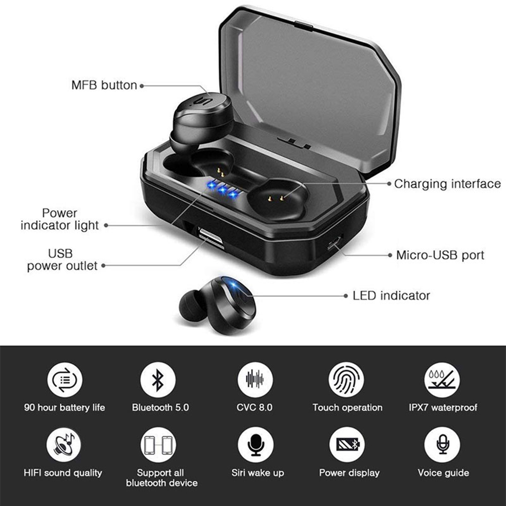 Image 3 - TWS S8 Plus True Wireless Earbuds Bluetooth 5.0 Earphones Touch Control IPX6 Waterproof CVC8.0 Noise Cancelling Headset With Mic-in Bluetooth Earphones & Headphones from Consumer Electronics