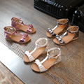 2017 летняя мода дети бантом принцесса обувь девушки с открытым носком сандалии в большой телевизор с плоским дном прилива обувь оптом