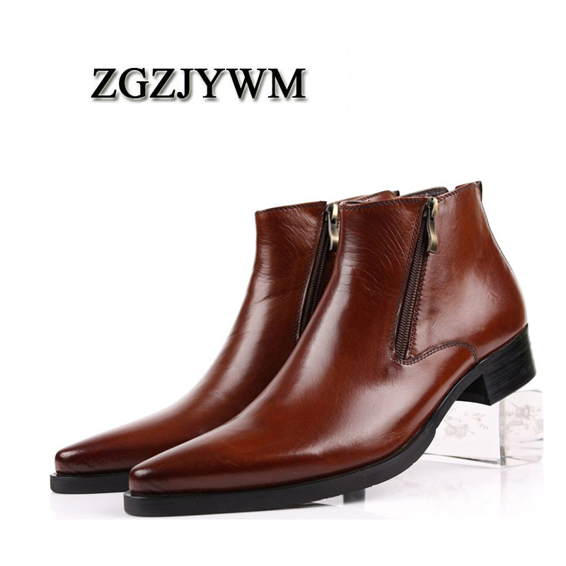ZGZJYWM New cowhide Genuine Soft Leather Pointed Toe Breathable Bullock Patterns Oxford Dress Shoes For Men Boots