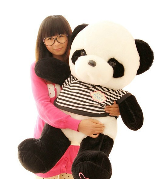 ФОТО lovely panda toys stuffed panda big plush panda with stripe clothes birthday gift about 75cm