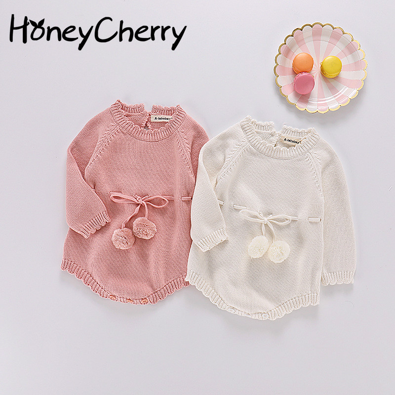 2018 Autumn Girls Babies Knitted Sweaters Body Ties Long Sleeves And Triangle Climbing Suits Baby Girl Clothes Bodysuit Baby