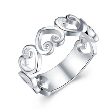 R802 New Top Quality Silver Plated & Stamped 925 rings sweet open heart Connect Ring for Women Silver Jewelry  Finger Ring