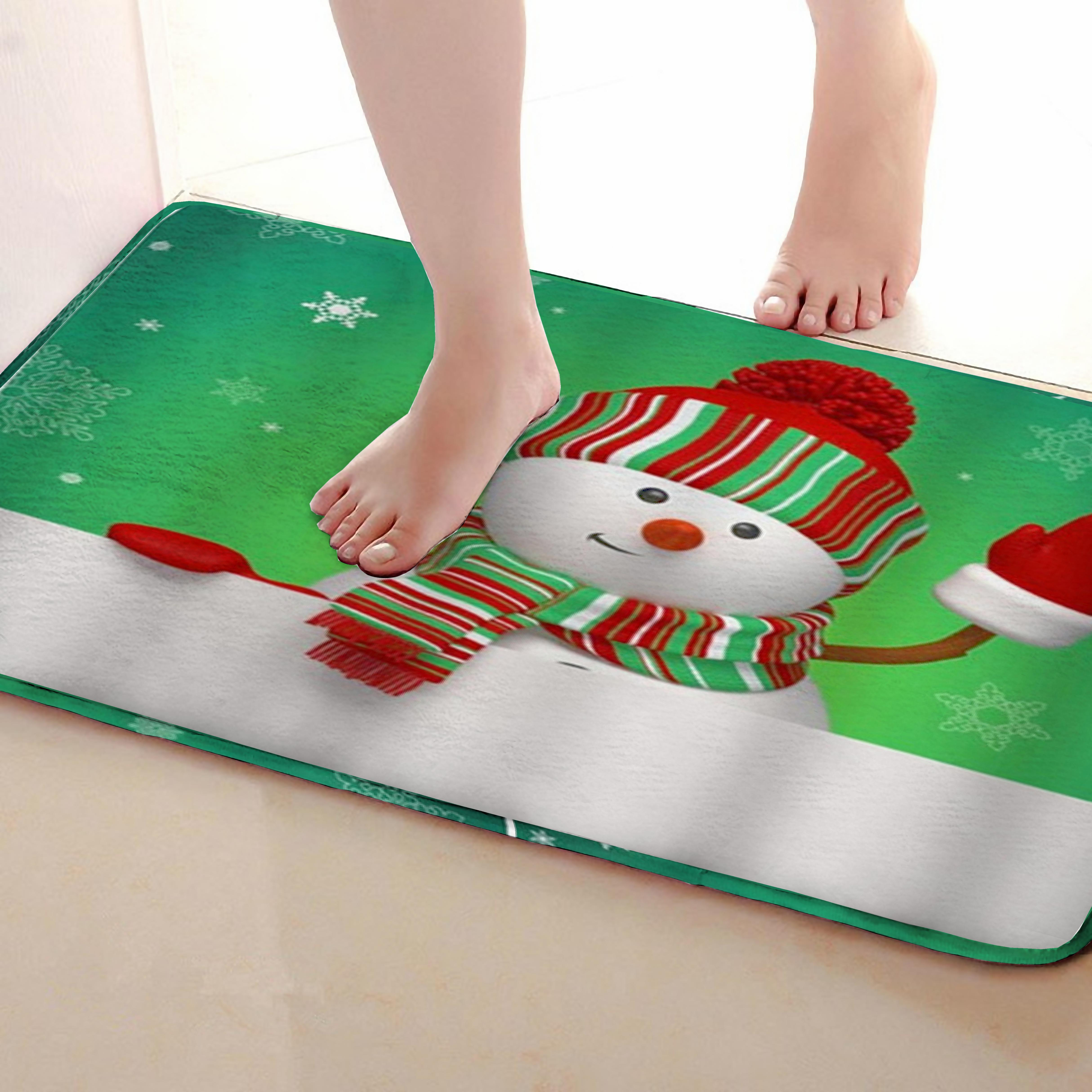 Snowman Style Bathroom Mat,Funny Anti Skid Bath Mat,Shower Curtains Accessories,Matching Your Shower Curtain