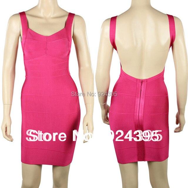 Backless HL Spaghetti Strap Sleeveless bandage dress sexy night club ladies women yellow v neck party mini Casual dresses