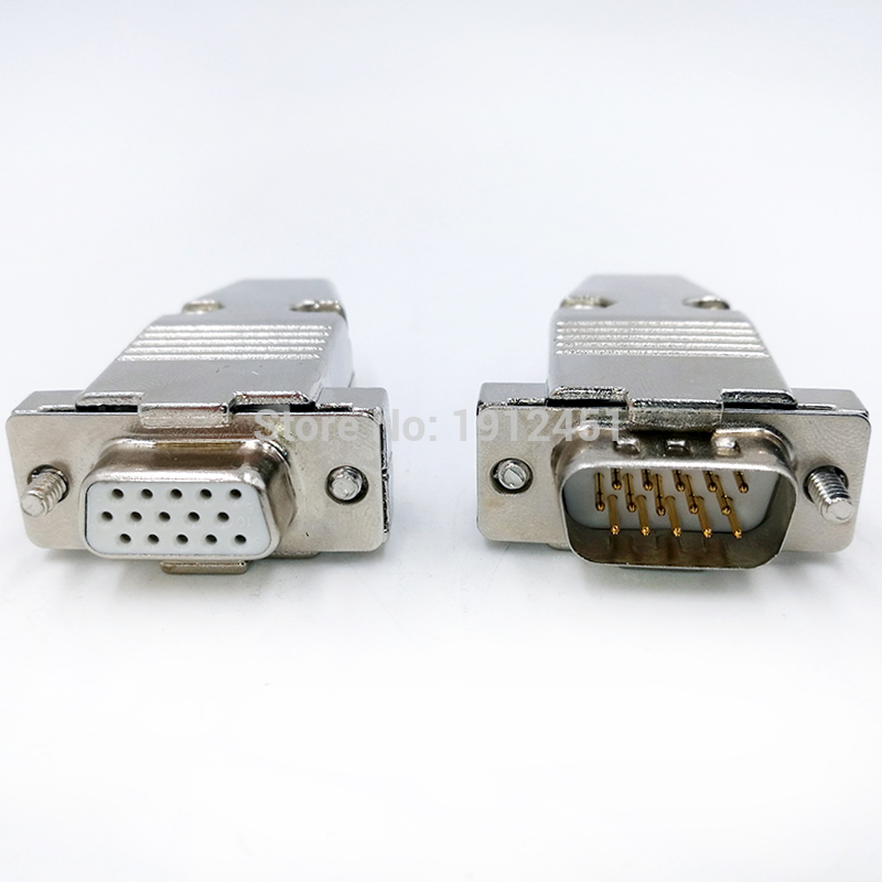 5PCS VGA Male Plug Socket DB15 15-Pin D-SUB 3 Rows Solder For Connector Adapter