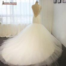 AMANDA NOVIAS bouquet 2018 model backless wedding dress