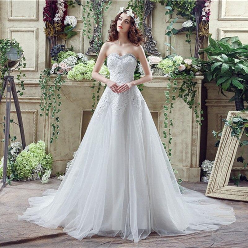 Plus Size Wedding Dress Crystal court Train Wedding dresses Ivory lace Slim Wedding gowns 2016 Vestido de noiva in stock