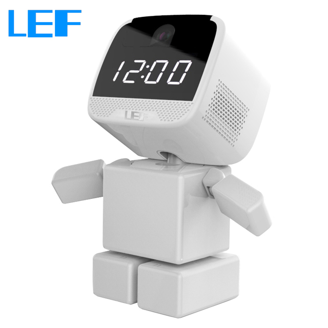 LEF 960P IP Camera Wi-Fi  Home Security Robot Cam with Clock Remote Control Night Vision
