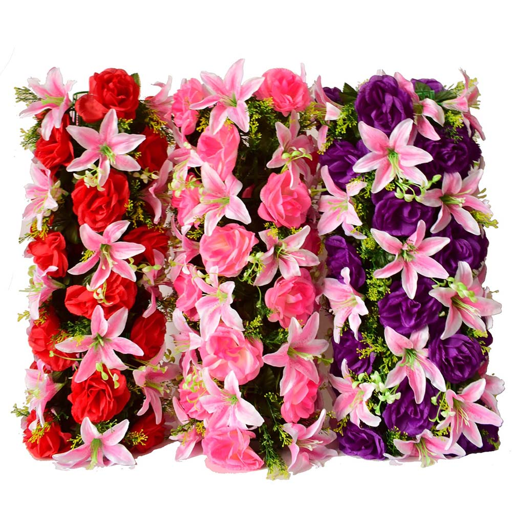 Rose Lily Artificial Flowers Wall Lawns Plastic Garden Party Wedding