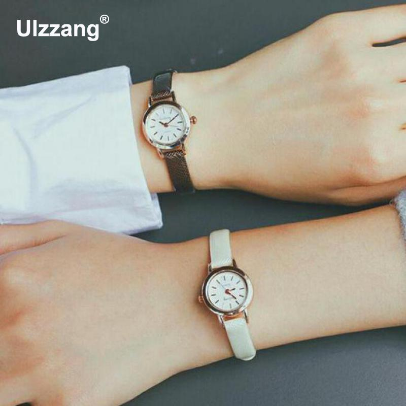 Ulzzang Small Dial Vintage Leather Women's Watches Casual Charm Ladies Wristwatches Simple Style Quartz Dress Watch Women Clock