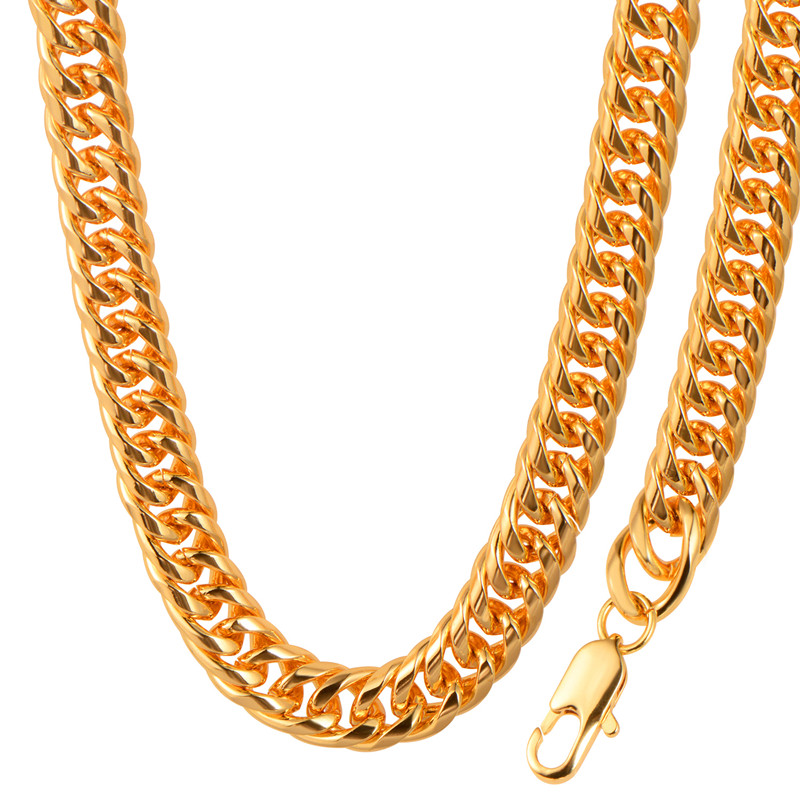 2017 New Hot Gold Color Thick Long Big Chunky Hippie Rock Necklace Hip Hop Chains For