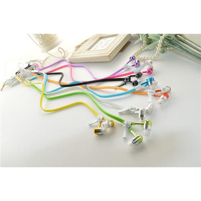 6 Color Glow Headphone Luminous Light Metal Zipper Earphone Glow In The Dark Headphones Headset for Iphone Samsung